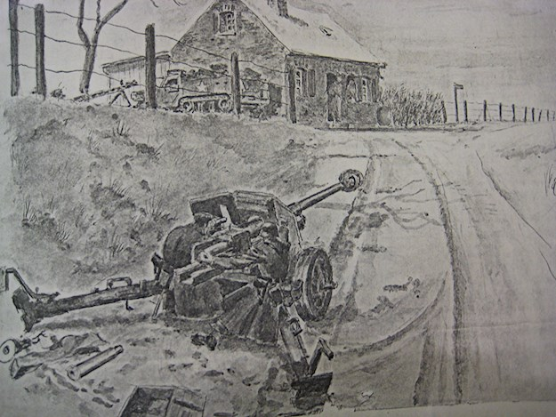 Horst's drawing showing tense comrades waiting for the enemy to strike. ©Charles MacDonald Papers, US Army Military History Institute